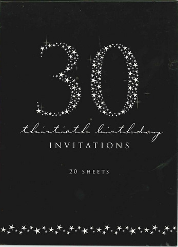 30th Elegant Birthday Invitations Black 20 pack